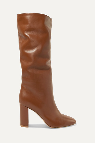 Gianvito Rossi Laura 85 Leather Knee Boots - Tan
