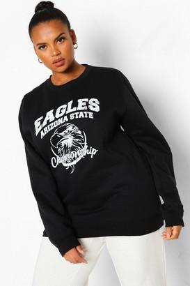 boohoo Plus Eagles Varsity Slogan Sweatshirt