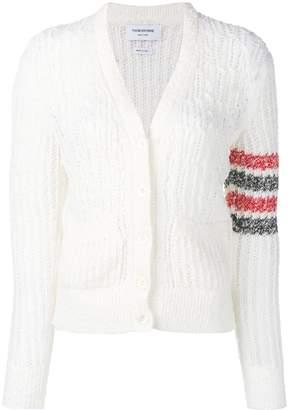 Thom Browne striped sleeve bouclé knit cardigan
