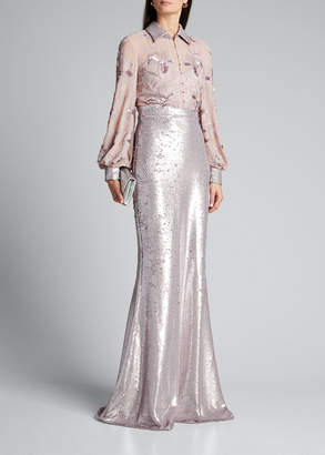 Badgley Mischka Couture Sequined Floral-Embroidered Shirt Gown