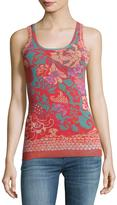Fuzzi Floral-Print Tulle Tank, Pink Pattern