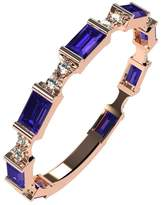Nana Silver Stackable Ring Baguette Cut Rose Gold Flashed - Size 7 - Simulated Amethyst - Feb. Birthstone