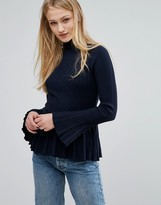 Vila Pleated Sleeve Knitted Top