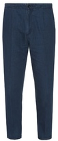 Vince Cotton And Linen-blend Cropped Chino Trousers