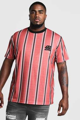 BoohoomanBoohooMAN Mens Red Big & Tall Stripe T-Shirt With M Embroidery, Red
