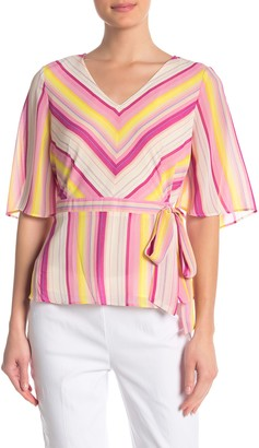Nanette Nanette Lepore Elbow Length Flutter Sleeve Faux Wrap Top