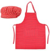 Opromo Cotton Canvas Adjustable Apron and Chef Hat Set for Men and Women-XL