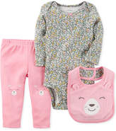 Carter's 3-Pc. Bear Bib, Bodysuit & Pants Set, Baby Girls