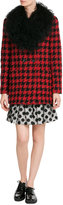 Moschino Dogstooth Wool Coat with Shearling Collar