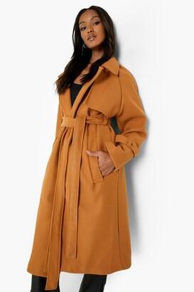 boohoo Petite Oversized Belted Wool Look Maxi Coat