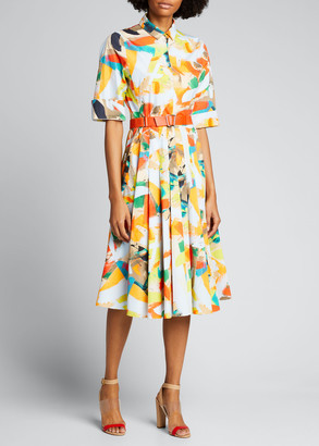 Akris Strokes on Paper Print Cotton Poplin Midi Shirtdress