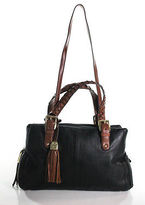 B. Makowsky Black Brown Braided Handles Detachable Strap Shoulder Handbag