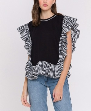 ENGLISH FACTORY Checker-Print Combo Top