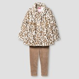 Young Hearts Toddler Girls' Animal Print Faux Fur Coat w/Legging - Off-White