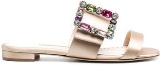 Manolo Blahnik Gem-Embellished Leather Sandals