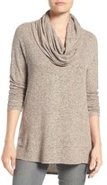 Gibson Petite Women's Convertible Neckline Cozy Fleece Tunic