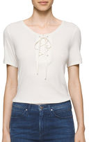 Calvin Klein Lace-Up Short Sleeve Solid Tee
