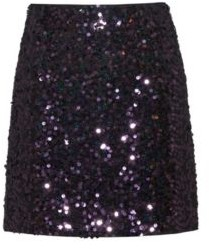 HUGO BOSS Slim Fit Sequined Mini Skirt With Concealed Zipper - Red
