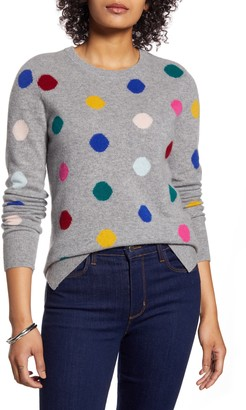 Halogen Multicolor Dot Pattern Cashmere Sweater