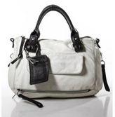 Chloé Ivory Leather Silver Tone Brown Accent Double Handle Satchel Handbag