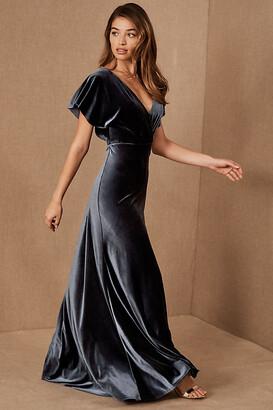 Jenny Yoo Ellis Velvet Dress By in Blue Size 14