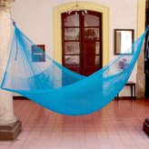 Novica Glowing Sapphire Outdoor Beach Garden Patio Pool Durable Solid Blue Handmade Knotted Rope Style Nylon Double Hammock (Mexico)