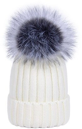 Youngsoul WOMENS LADIES RIBBED WINTER KNITTED BEANIE BOBBLE HATS WITH DETACHABLE FAUX FUR POM Dark Pink