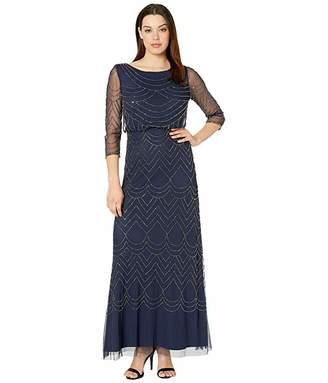 Adrianna Papell 3/4 Sleeve Art Deco Beaded Blouson Gown