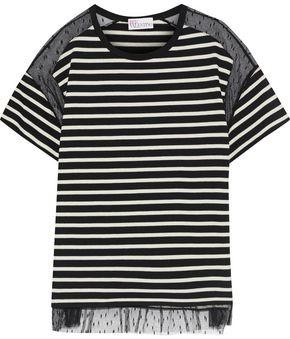 RED Valentino Point D'esprit-paneled Striped Cotton T-shirt