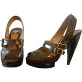 Chloé Khaki Leather Heels