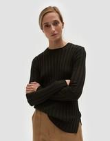 Long Sleeve Ribbed Pullover in Dark Green