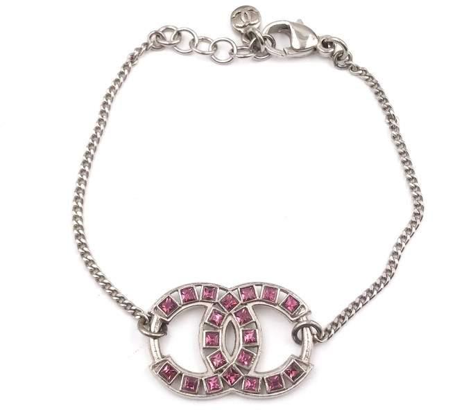 Chanel Silver Tone CC Fuchsia Emerald Crystal Bracelet