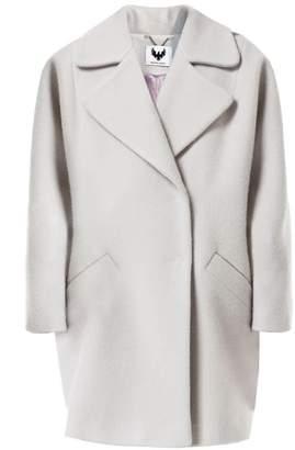 Diana Arno Heidi Oversized Wool Coat In Sky Grey