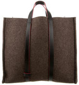 Fendi Leather-Trimmed Felt Tote