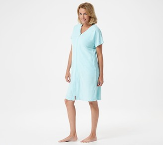 Carole Hochman Slub Baby Terry Short-Sleeve Zip Robe