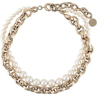 Ermanno Scervino Pearl And Chain Choker Necklace