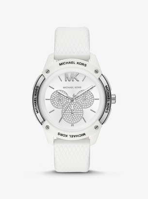 Michael Kors Ryder Embossed Silicone and Silver-Tone Watch