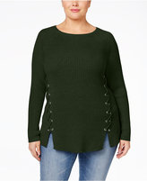 Style&Co. Style & Co. Plus Size Lace-Up Sweater, Only at Macy's