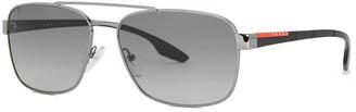 Prada Linea Rossa Gunmetal aviator-style sunglasses