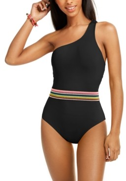 Bar III Cabo Wabo Asymmetrical Banded One-Piece Swimsuit, Created for Macy's Women's Swimsuit