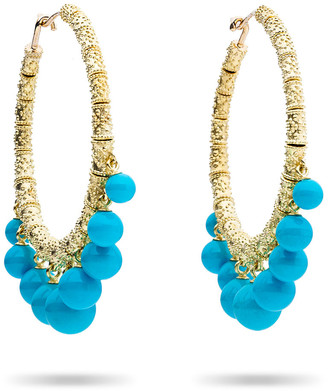 Paul Morelli Turquoise Beaded Bell Hoop Earrings