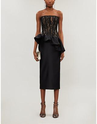 Rasario Strapless lace-and-satin midi dress