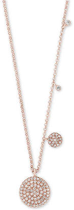"""Effy Diamond Pave Disc 18"""" Pendant Necklace (1/4 ct. t.w.) in 14k Rose Gold"""