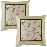 """Madison Park Serene Faux-Silk 20"""" Square Embroidered Pillow Pair"""