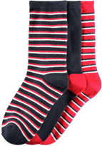 Joe Fresh Kid Boys' 3 Pack Assorted Stripe Socks, JF Midnight Blue (Size 3-6)
