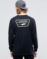 Vans Full Patch Back Print Ls T-shirt In Black Va2xcmblk