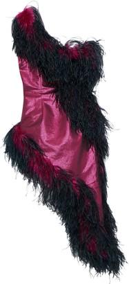 16Arlington Asymmetric One-shoulder Feather-embellished Lame Dress
