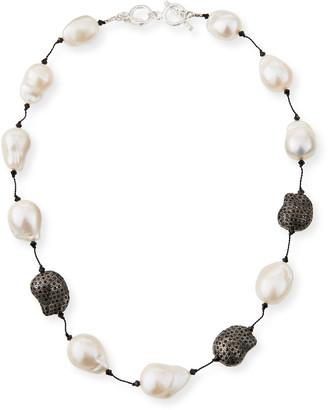 "Margo Morrison Fifth Avenue Short Pearl & Spinel Necklace, 18""L"