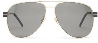 Saint Laurent Aviator Metal Sunglasses - Womens - Grey Gold