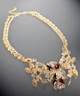 gold and crystal 'Fitz' bib double layer necklace